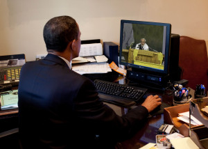 President Barack Obama tests out the new Federal Government IT Dashboard outside of the Oval Office on July 2, 2009. (Official White House Photo by Pete Souza) This official White House photograph is being made available for publication by news organizations and/or for personal use printing by the subject(s) of the photograph. The photograph may not be manipulated in any way or used in materials, advertisements, products, or promotions that in any way suggest approval or endorsement of the President, the First Family, or the White House.